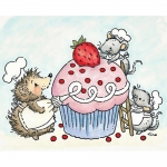 Critters Decorating A Cupcake