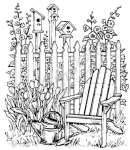 Chair Fence and Birdhouse