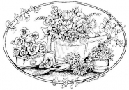 Oval Watering Can with flowers
