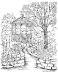 Spring Gazebo with Brick Wall and Path