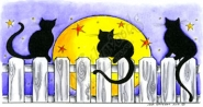 Three Cats With Moon And Stars