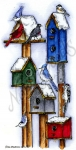 Winter Birdhouses With Winter Birds